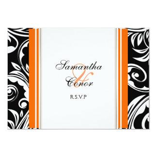 Orange Schwarz-weiße Hochzeits-Verlobung 12,7 X 17,8 Cm Einladungskarte