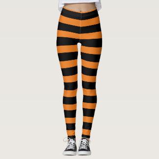 Orange schwarze gestreifte Hexe Halloween Legging Leggings