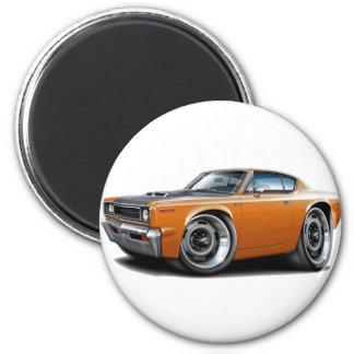 Orange-Schwarze Haube der Rebellenmaschinen-1970 Runder Magnet 5,1 Cm