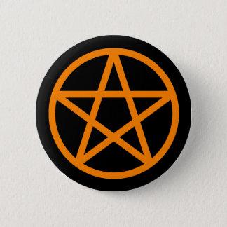 Orange schwarzer fester Pentagramm-Knopf Runder Button 5,7 Cm
