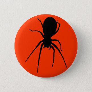 Orange schwarzer gruseliger Spinnen-Knopf Runder Button 5,1 Cm