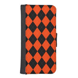 Orange-Schwarzer Raute iPhone 5/5s Geldbeutel Hülle Für Das iPhone SE/5/5s