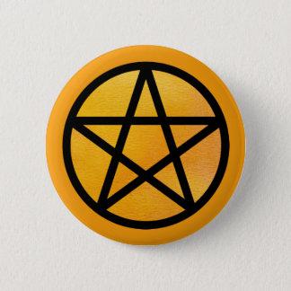 Orange schwarzer Watercolor-Pentagramm-Knopf Runder Button 5,7 Cm