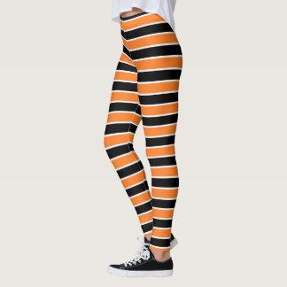 Orange, Schwarzweiss-Streifen Leggings