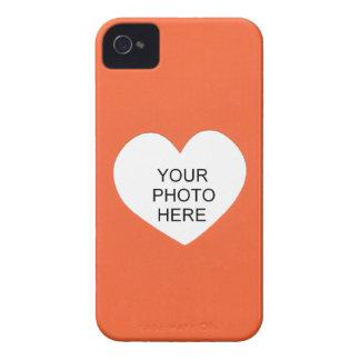 Orange Single-Herz addieren Foto-Rahmen iPhone 4 Case-Mate Hülle