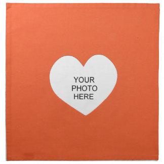 Orange Single-Herz addieren Foto-Rahmen Serviette