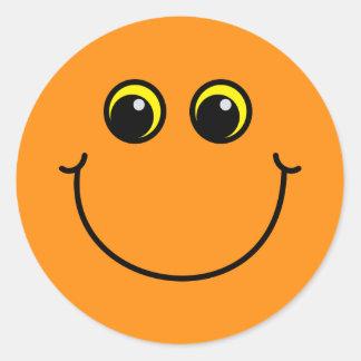 Orange Smiley Runder Aufkleber