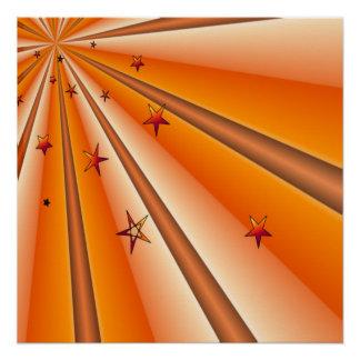 Orange Sonnendurchbruch-und Stern-Plakat Poster