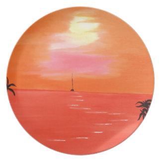 Orange Sonnenuntergang-Himmel-Malerei Flache Teller