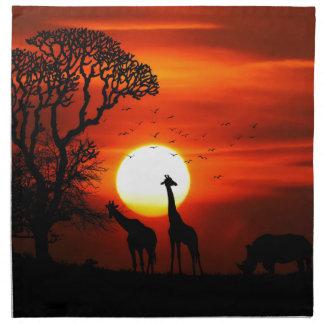 Orange Sonnenuntergang in der Giraffen-Silhouette Serviette