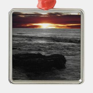 Orange Sonnenuntergang Quadratisches Silberfarbenes Ornament