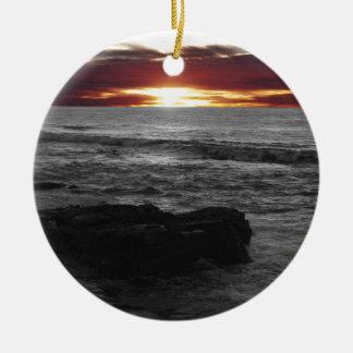 Orange Sonnenuntergang Rundes Keramik Ornament