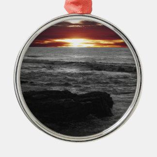 Orange Sonnenuntergang Silbernes Ornament