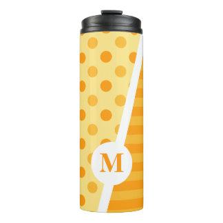 Orange Sorbett-Tupfen und Streifen: Monogramm Thermosbecher