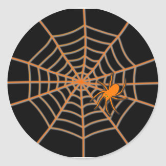 Orange Spinne und Netz auf Schwarzem Runder Aufkleber