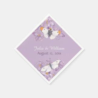 Orange Spitze-Schmetterlings-Lavendel-Blumen Papierserviette