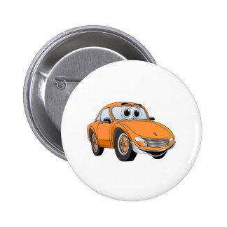 Orange Sport-Auto-Cartoon Anstecknadelbutton
