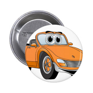 Orange Sport-Auto-Kabriolett-Cartoon Buttons