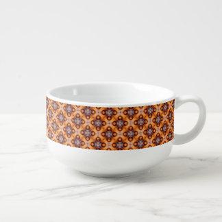 Orange Steigungs-Retro Mosaik-Muster Große Suppentasse