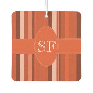 Orange Streifen-Monogramm Autolufterfrischer