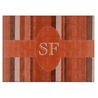 Orange Streifen-Monogramm Schneidebrett