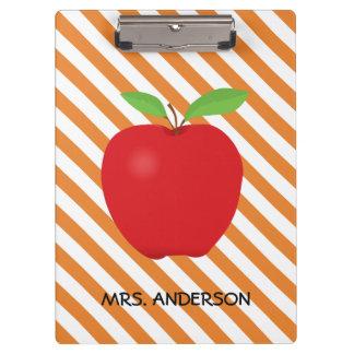 Orange Streifen, roter personalisierter Lehrer Klemmbrett