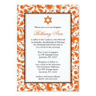 Orange Strudel-Damast-Schläger Mitzvah Einladungen
