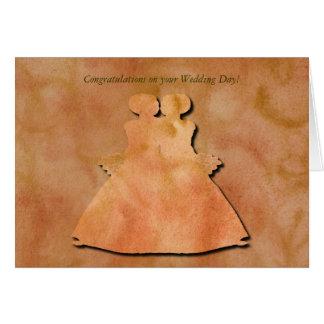 Orange Strudel-lesbische Hochzeits-Karte