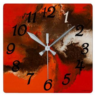 Orange Strudel-Uhr Quadratische Wanduhr