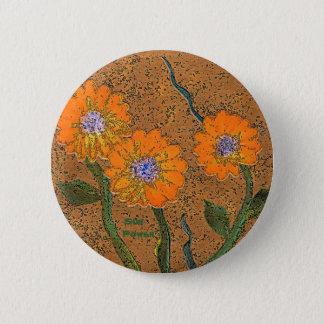 Orange Sun-Power-Blumen-Button Runder Button 5,7 Cm