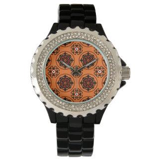 Orange Suzani Muster Armbanduhr