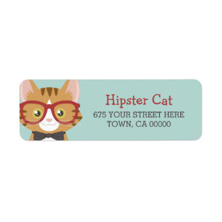 Orange Tabby-Hipster-Katzen-Kinder Rücksendeetiketten