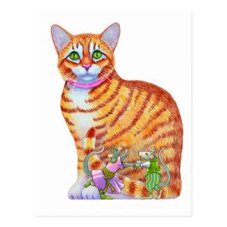 Orange Tabby-Katze mit Tanzen-Mäusen auf der Front Postkarte
