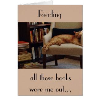 Orange Tabby-Katze und Bücher Karte