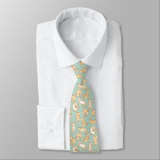 Orange Tabby-Katzen-illustriertes Muster Bedruckte Krawatten