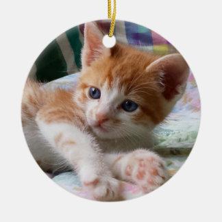 Orange Tabby u. weiße Kätzchen-Verzierung Rundes Keramik Ornament