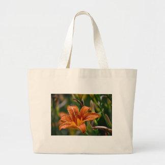 Orange Taglilie-u. Regentropfen-Blumen-Foto Jumbo Stoffbeutel