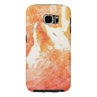 Orange Telefon-Kasten Wolf-Samsung-Galaxie-S6