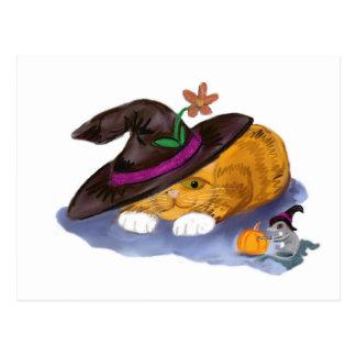 Orange Tiger-Kätzchen-und Mäusedon-Hexe-Hüte Postkarte