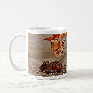 Orange Tiger-Katze und Maus Kaffeetasse