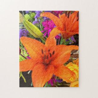 Orange Tiger-Lilien-Puzzlespiel Puzzle