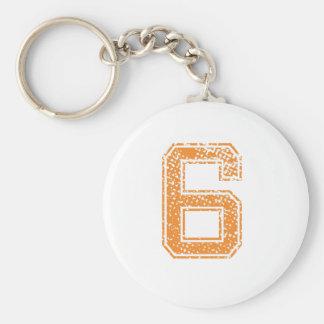 Orange trägt Jerzee Zahl 06.png zur Schau Schlüsselanhänger