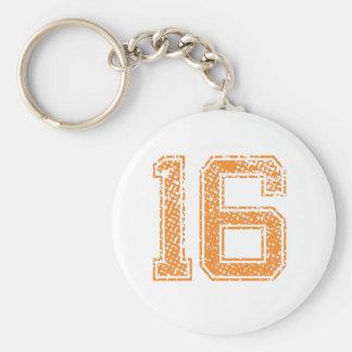 Orange trägt Jerzee Zahl 16.png zur Schau Schlüsselanhänger
