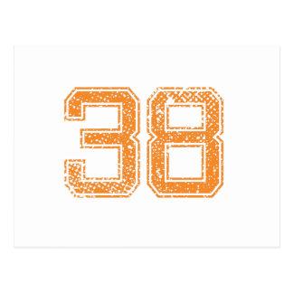 Orange trägt Jerzee Zahl 38.png zur Schau Postkarte