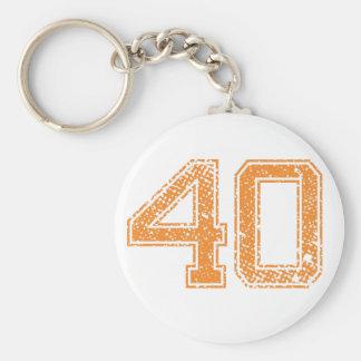 Orange trägt Jerzee Zahl 40.png zur Schau Schlüsselanhänger