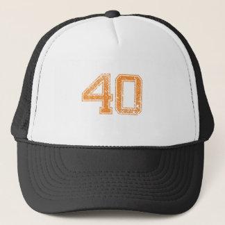 Orange trägt Jerzee Zahl 40.png zur Schau Truckerkappe
