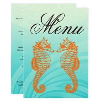 Orange u. blaues Seepferd-Hochzeits-Menü Karte