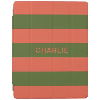 Orange u. grüne Streifen-Name-Gerätabdeckungen iPad Hülle
