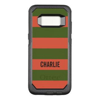 Orange u. grüne Streifen-Name-Telefon-Hüllen OtterBox Commuter Samsung Galaxy S8 Hülle