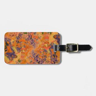 Orange u. lila abstrakter Kunst-Entwurf, Kofferanhänger